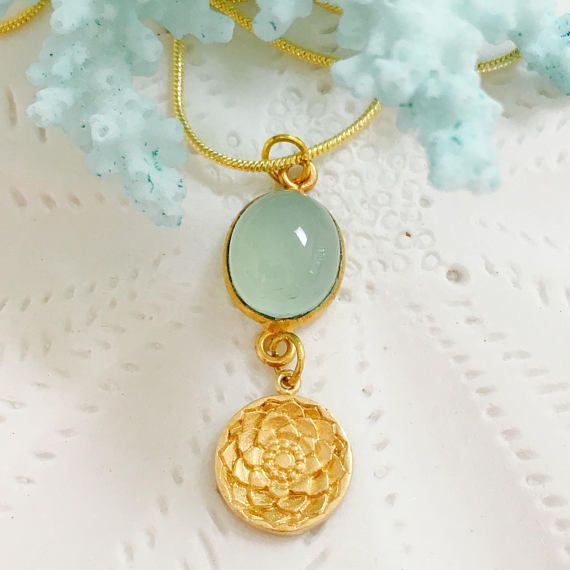 Gold Vermeil Chalcedony Lotus Sanskrit Ahimsa Yoga Necklace