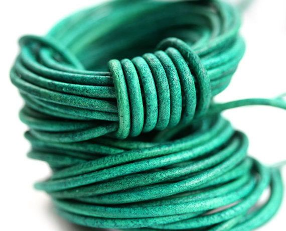 2mm Natural Round Leather cord - Vintage Green - 10 feet, LC012 by MayaHoney on Etsy