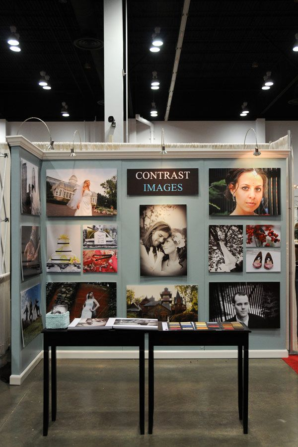 Bridal Show Booth- very simple and effective, I would not have the tables in front blocking the booth, or have images below eye level. But nice set up with crown molding
