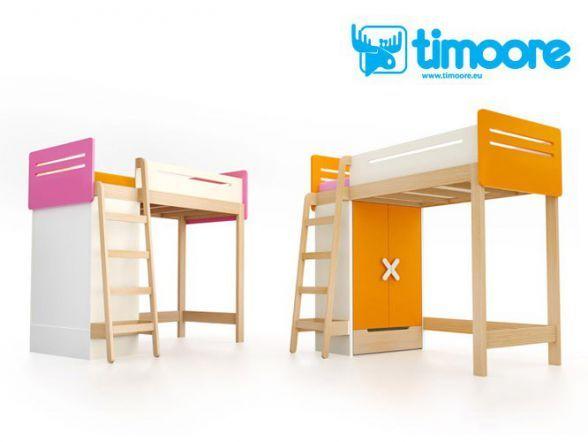 Łóżko piętrowe dla dzieci Timoore Simple to funkcjonalny mebel będący połączeniem szafy z łóżkiem piętrowym.