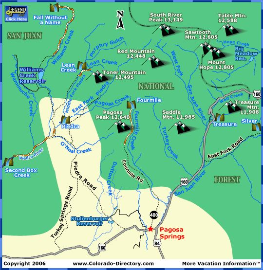 Pagosa Springs Hiking Trails Map CO Colorado Vacation