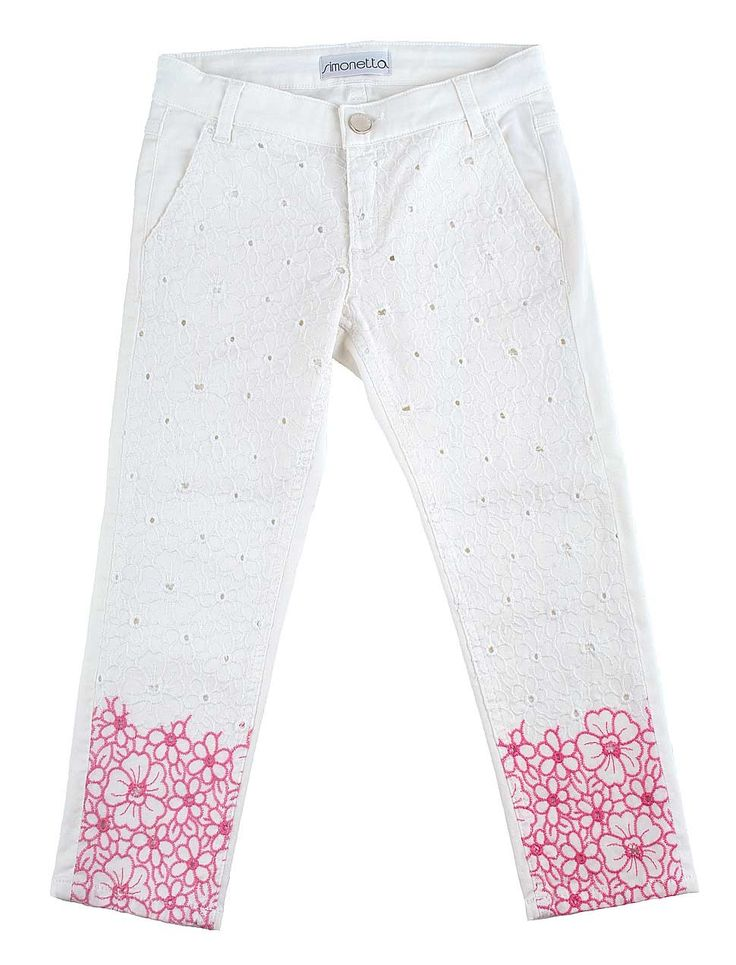 girls white jeans with fuchsia flower embroidery from Simonetta