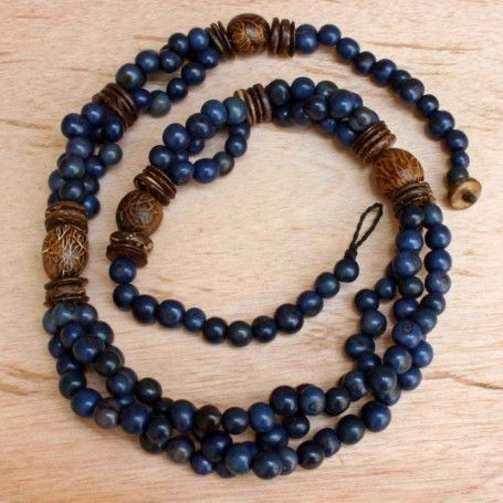 When you buy this necklace you support fair trade in Ecuador and help to provide a local artisan with a sustainable livelihood. $48.00 http://www.artisansintheandes.com/beaded-necklaces-blue-acai-chunky