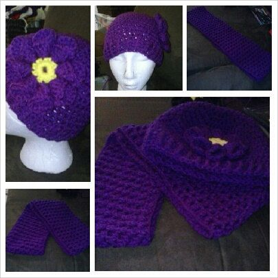 Girls Hat/Flower and matching Infinity Scarf by candicedavis336