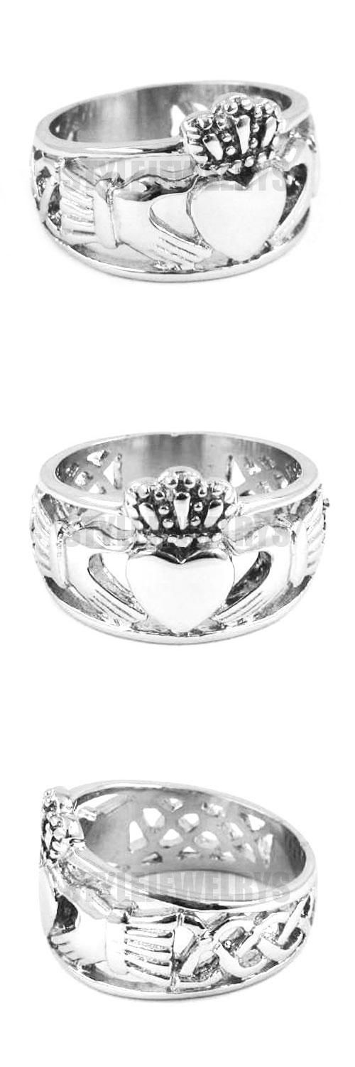[Visit to Buy] Wholesale Claddagh Style Hand to Hold a Heart with Crown Ring Stainless Steel Jewelry Celtic Knot Wedding Ring Women SWR0308A #Advertisement
