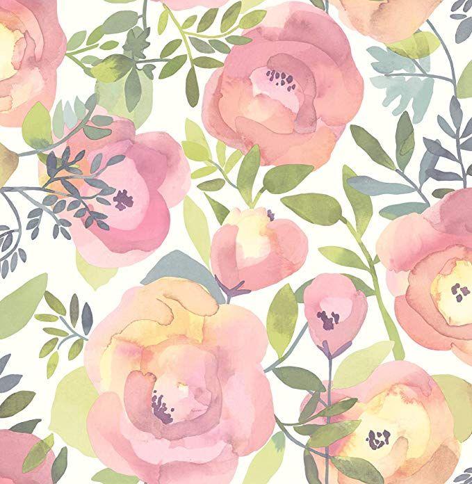 Nuwallpaper Nu3035 Peachy Keen Pink Peel Stick Wallpaper Floral Wallpaper Pink Removable Wallpaper Peel And Stick Wallpaper