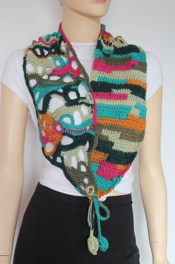 Chic Boho Hippie Colorful Freeform Crochet Scarf от lucylev