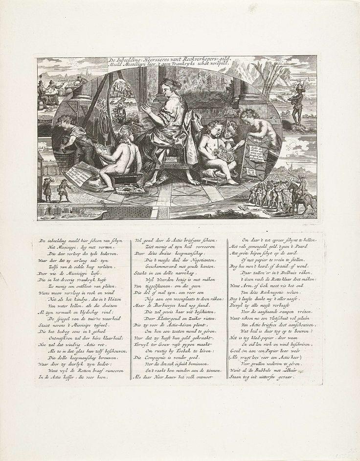 Anonymous | De Inbeelding schildert de Mississippi, 1720, Anonymous, 1720 | De vrouwelijke personificatie van de Inbeelding schildert een schilderij van de Mississippi, om haar heen kinderen die bellen blazen of lezen uit de actieboek van de Mississippi-Compagnie zittend op een lege geldkist. Met vier kleine scènes van andere mislukte ondernemingen. Onder de voorstelling een onderschrift met een vers in drie kolommen gedrukt van een aparte plaat. Prent 23 in de serie Tafereel der Dwaasheid…