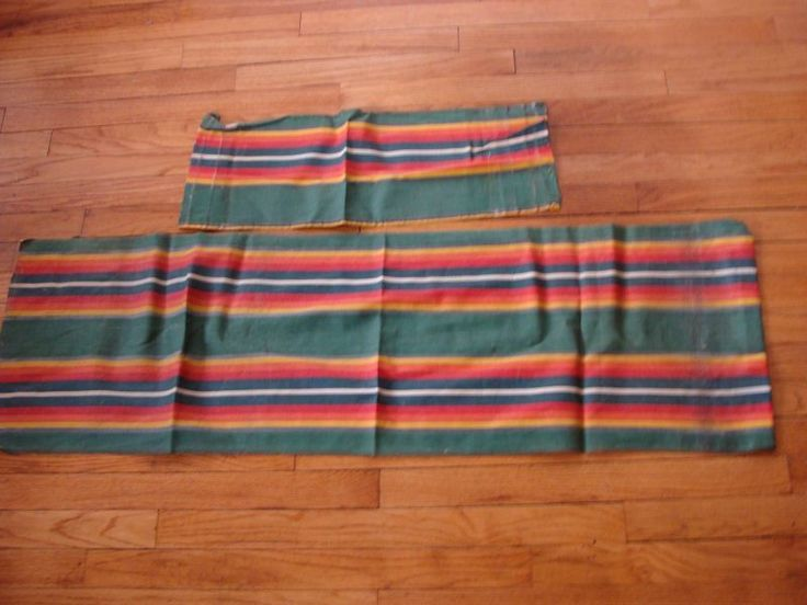 Vintage 1940's Green w Orange Stripes Canvas Fabric for Beach or Deck Chair