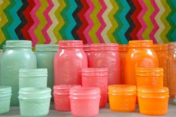Colored Mason Jars. This Mason jar craft looks like a fun little weekend project. I love reusing mason jars!