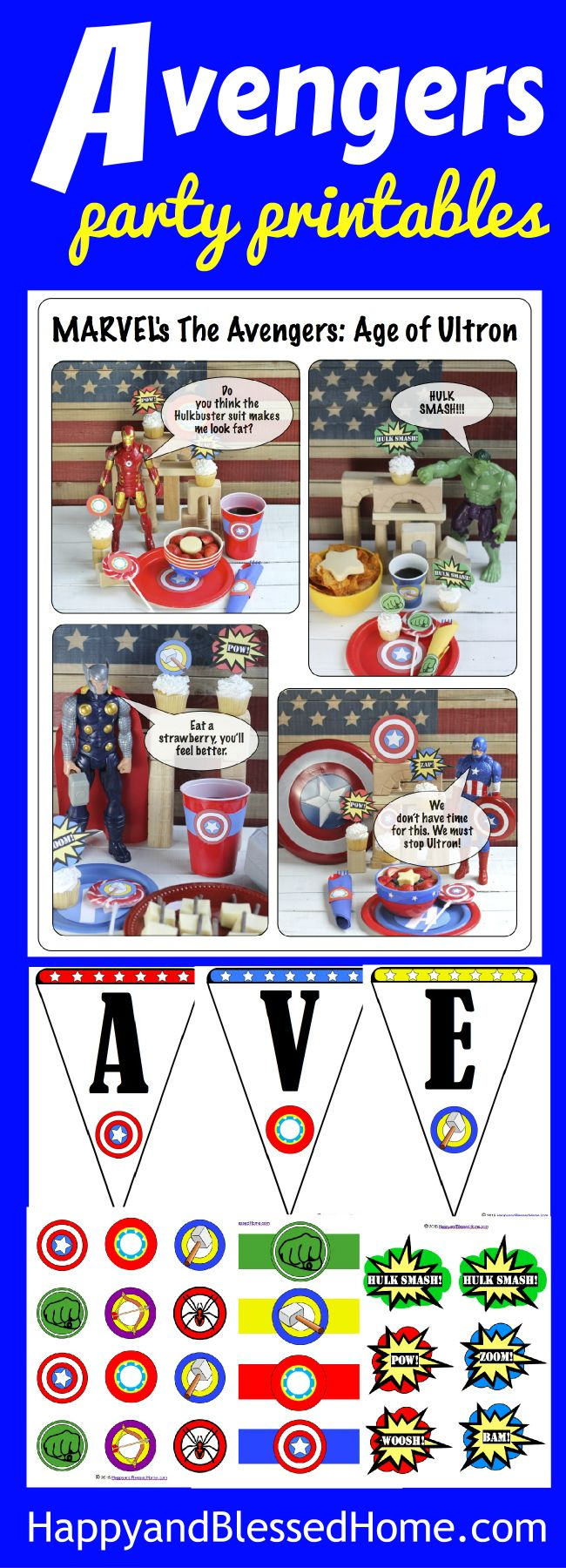 Avengers Party Printables free for a limited time - perfect for hosting your own Superhero themed party - So FUN! Great DIY birthday party idea with cake toppers, Avengers Party banner, napkin ring holders, cup labels, and table scatter.