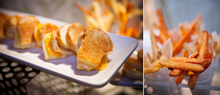 mini grilled cheese sandwiches and french fries at King Edward wedding