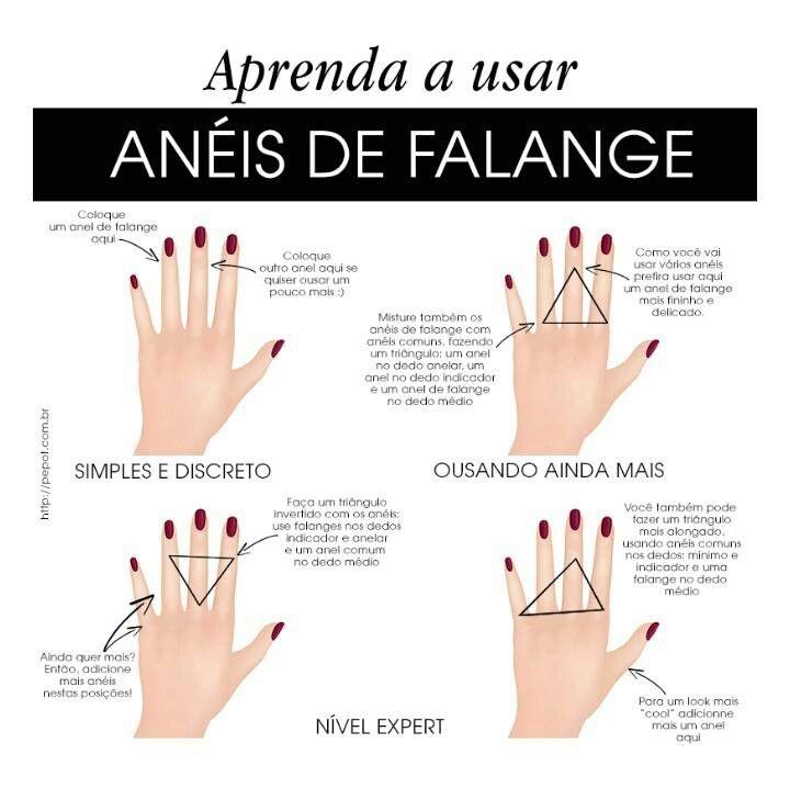 Aprenda a usar anéis falange   Anel falange, Como usar aneis ...