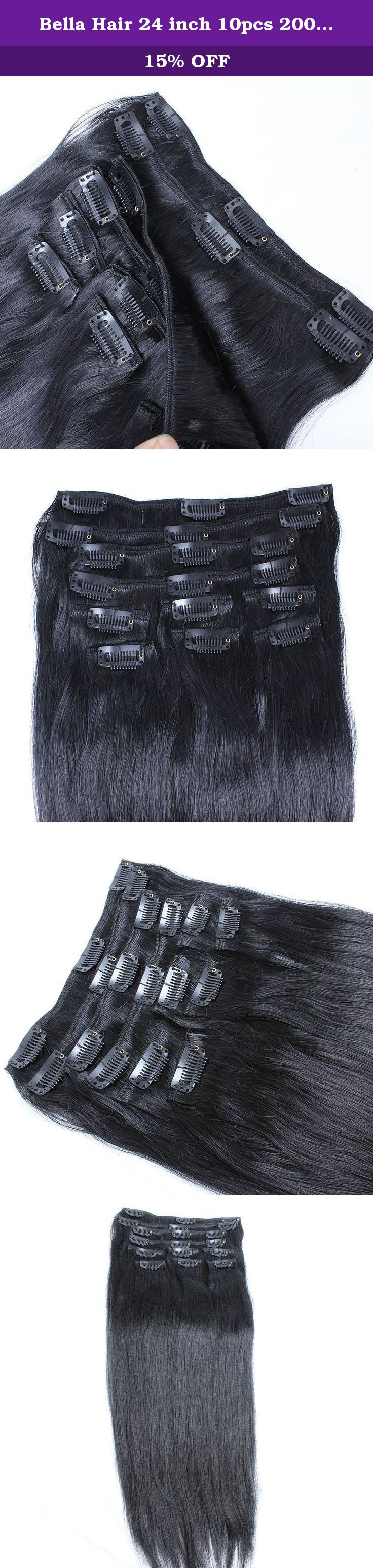 Bella Hair 24 inch 10pcs 200g Real Remy Virgin Human Hair Clip in Hair Extensions Straight 1# Jet Black Color. Clip In Hair Extensions 1) Material: 100% virgin human hair , unprocessed natural hair with no chemical process, No Acid! No Dye! 100% Real Human Hair. 2) Quality: Grade AAAAAA, No shedding, No tangle, No lice, intact cuticle, long lifetime 3) Length: 100% ture to the length 4) Color: 1# Jet Black Color. 5) Hair Type : Clip In Hair Extensions 6) Weight: 200gram/Set 7) Clips...