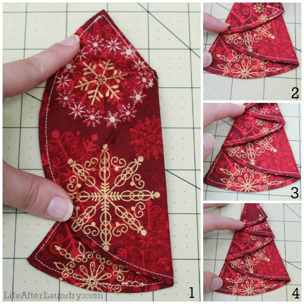 Christmas ornament Collage -- cut circle, fold it in half, right sides together, and sew around your edge stopping about an 1 1/2 from the edge, leaving that open. Turn right side out, top stitch......