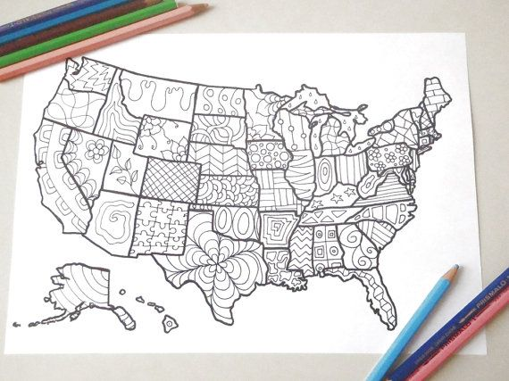 map usa united states america coloring book kids adults instant download travel map art  home decor printable print digital lasoffittadiste