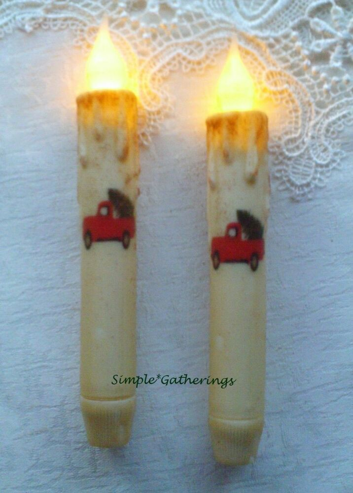 """2 SNOWMAN FACE WHITE TIMER TAPER Candles Textured 6.75/"""" Winter Christmas Crafts"""