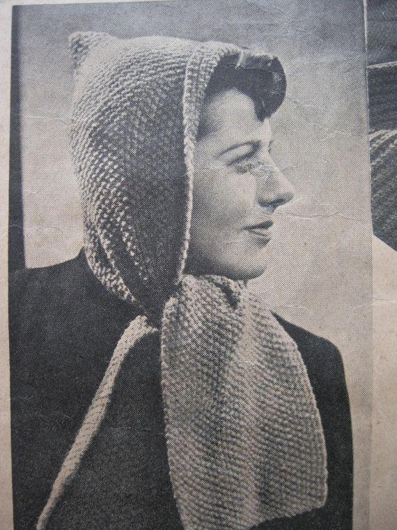 Wartime Knitting Patterns : Wartime Socks, Stockings, Scarves & Gloves - Pixie Hood - Weldon No. 11 -...