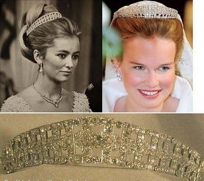 Diadema de brillantes estilo art-decó con diseño geométrico y tres filas de diamantes, tiara que también puede ser usada como gargantilla y fue un regalo de la reina Elisabeth  a su nuera, la reina Astrid, en 1935, con motivo del nacimiento de su hijo Alberto. Tras la muerte de Astrid, la joya fue usada por la segunda esposa del rey, Lilian Baels, y es la favorita de la reina Paola de Bélgica.