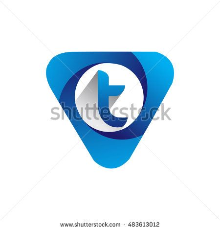 Logo letter T blue colored in the triangle shape, Vector design template…