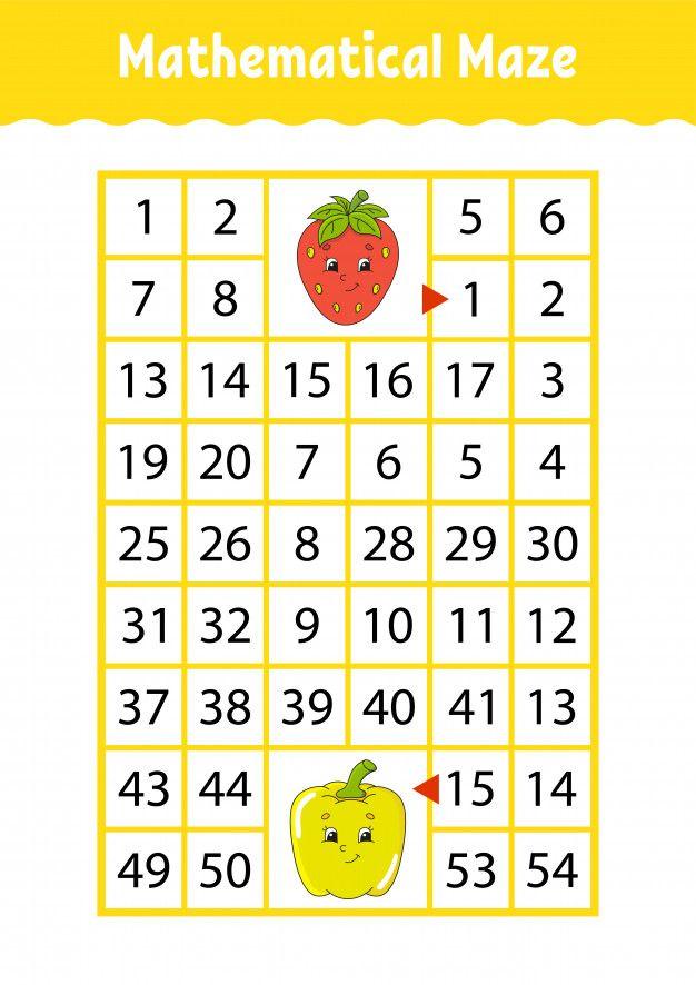 Math Maze Game For Kids Funny Labyrinth Education Developing Worksheet Math Maze Math Games For Kids Math