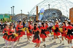 Milan Institute Martinitt e Stelline with majorette show at the EXPO 2015. Stock Photos