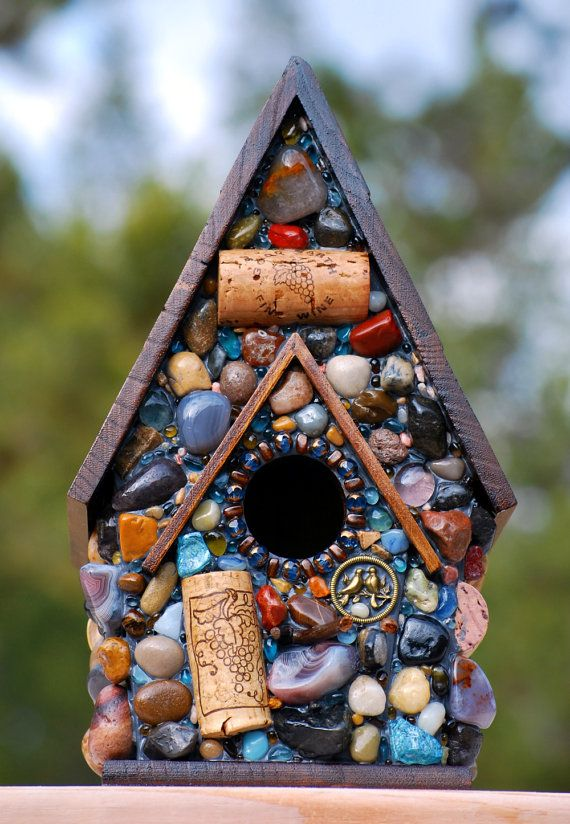 Mosaic Garden Birdhouse with colorful stones and Wine corks