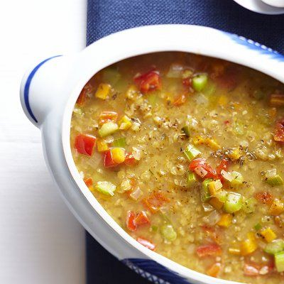Mexican lentil soup for Meatless Monday  High in protein and fibre and under 200 calories. Hearty and delicious