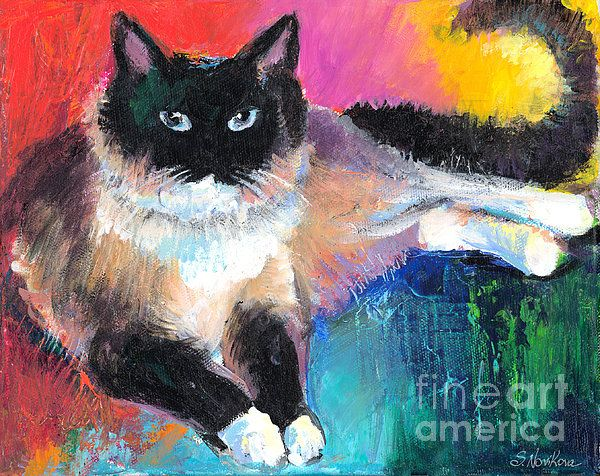 17 best images about contemporary cat art paintings for Cat paintings on canvas