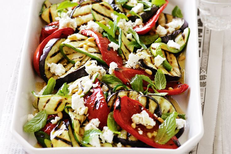 Eggplant, zucchini and goat's cheese salad  #food #recipe #zucchini http://www.taste.com.au/recipes/21507/eggplant+zucchini+and+goats+cheese+salad