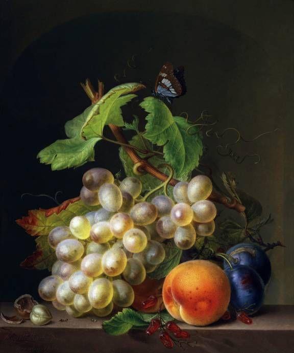 Натюрморт с виноградом и персиком / Эрнст Мориц Густав Тэттельбах - Ernst Moritz Gustav Tettelbach