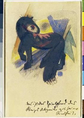 Franz Marc - The game horse of the king Abigail from his childhood. Postcard to Else Lasker pupils