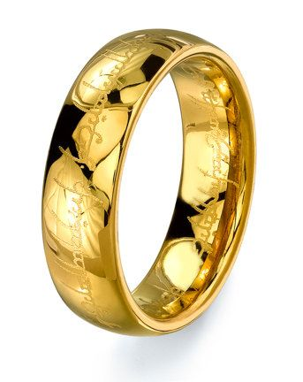 lord of the rings gold color tungsten ring wedding band mens tungsten carbide the one - The One Ring Wedding Band