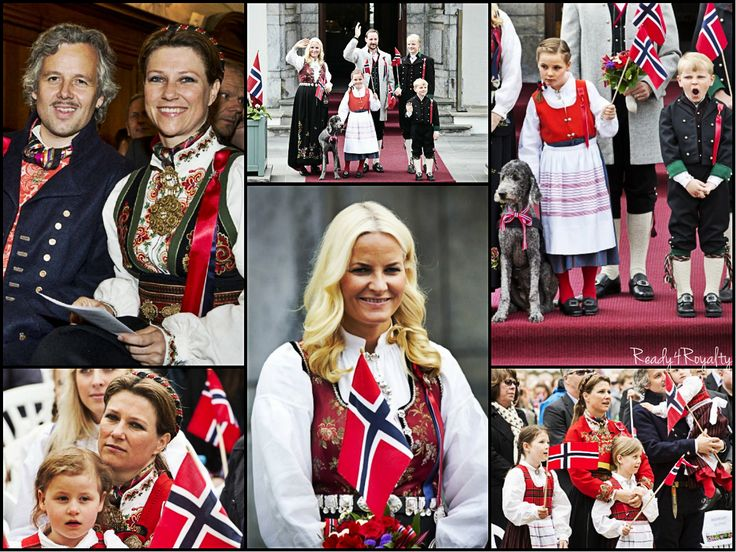 May 17, Oslo and London- The Norwegian Royal Family celebrated National Day separately this year. The Crown Princely family celebrated with the king and queen in Norway. Shown here Princess Martha Louise and husband Ari Behn; Crown Princess Mette-Marit and Crown Prince Haakon, Princess Ingrid Alexandra, Prince Sverre Magnus and Marius Hoiby.