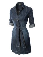 LE3NO Womens Classic Sleeveless Chambray Jean Denim Shirt Dress with P | LE3NO