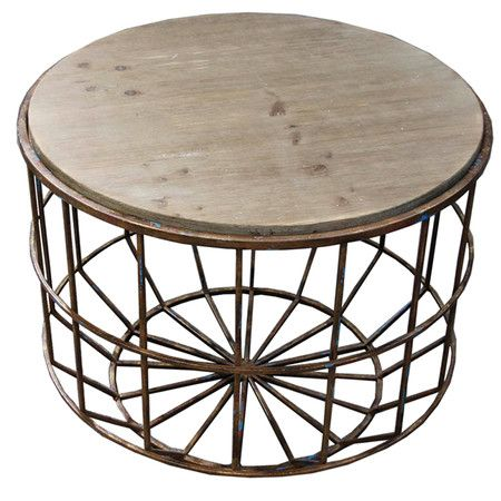 Great Metal Basket Table With Wood Top Doubles As Clever Storage  Piece.Features:Style: