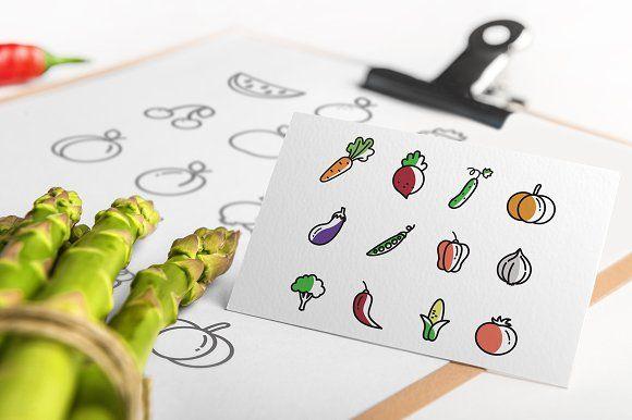 Set of 48 Fruit & Vegetable icons by InnaMoreva on @creativemarket