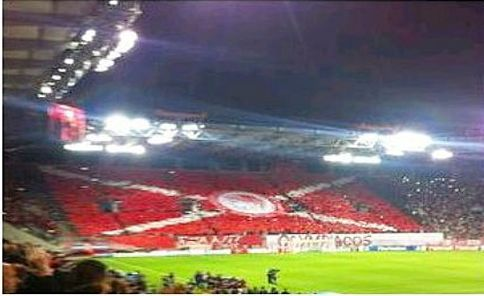 The tifo formed by the passionate Olympiacos supporters at Georgios Karaiskakis Stadium in Piraeus at the Champions League match against Juventus. Olympiacos won 1-0 & are equal group leaders with Atletico Madrid. 23.10.14