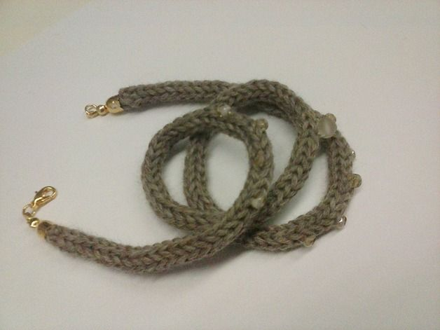 Braccialetto tricotin beige in lana