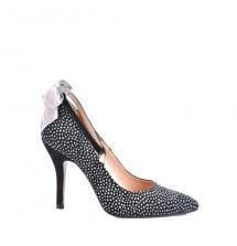 Zapato de tacón con pulsera en tobillo en Ante estampado Guepardo    Material:        Ante    Tacón:        8.5cm.