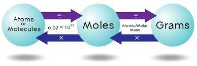 نتيجة بحث الصور عن convert between grams moles and atoms and molecules