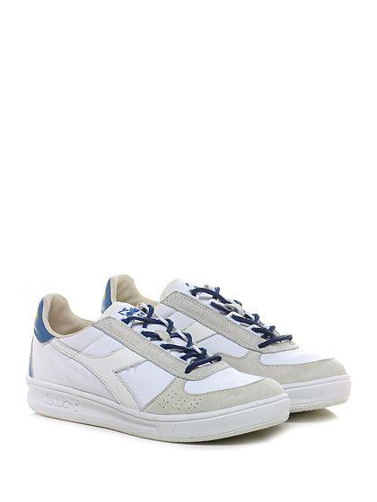 DIADORA Heritage - Sneakers - Uomo - Sneaker in camoscio e tessuto effetto delavè con suola in gomma e laccio in pelle. Tacco 30, platform 20 con battuta 10. Laccio di riserva inclusi. - WHITE - € 170.00
