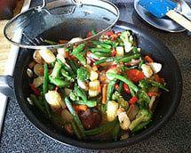 vegetales salteados al ajo