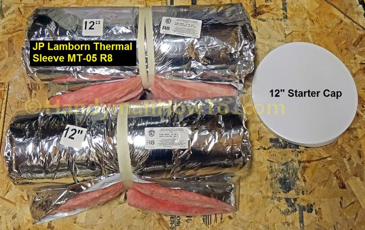 Photo tutorial showing how to insulate round sheet metal air duct with R-8 thermal insulation sleeve.