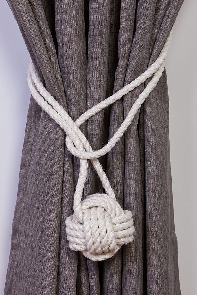 Cotton Rope Monkey Fist Knot Tie-backs / Nautical curtain tiebacks/ white hold-backs / curtain ties / ball curtain tie-backs / ivory rope by AndreaCookInteriors on Etsy https://www.etsy.com/uk/listing/464918893/cotton-rope-monkey-fist-knot-tie-backs
