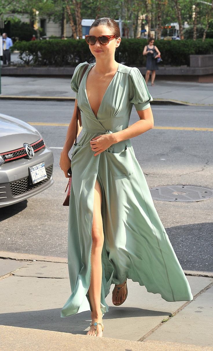 Miranda Kerr in mint maxi wrap-dress. Beautiful style and color but I don't like feeling I'm going to flash everyone!