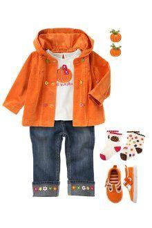 Lil' pumpkin tee, flower button hooded jacket, flower cuff jeans, pumpkin hair clips & bow t-strap sneakers