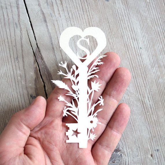 Personalized Monogram Paper Cut Botanical Key