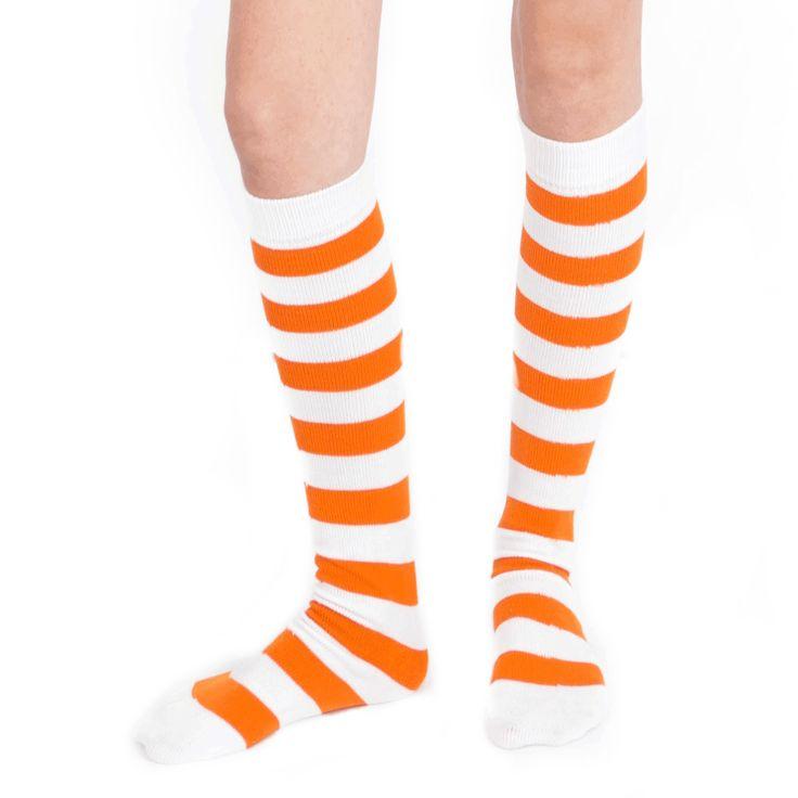 Striped White/Orange Knee High Socks