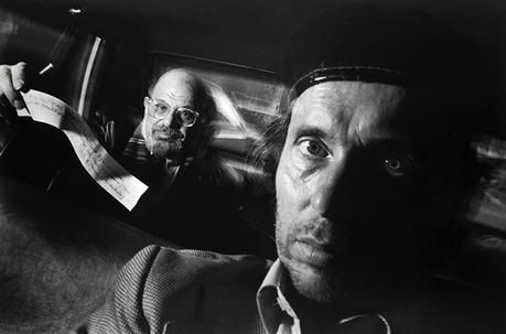 Ryan Weideman, Self-Portrait with Passenger Allen Ginsberg, 1990. Gelatin silver print; 16 x 20 in.